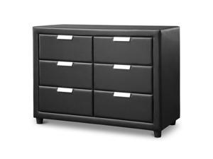 Baxton Studio Pageant Black Faux Leather Upholstered Dresser