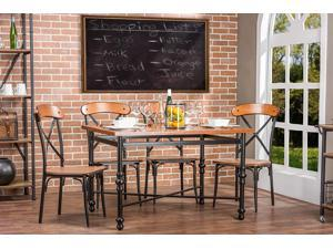 Baxton Studio Broxburn Light Brown Wood & Metal 5-Piece Dining Set