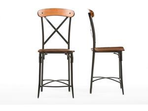 Baxton Studio Broxburn Light Brown Wood & Metal Bar Stool