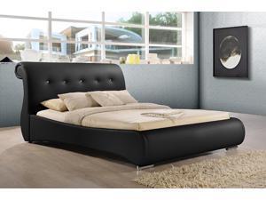Baxton Studio Pergamena Black Leather Contemporary Queen-Size Bed