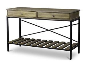 Baxton Studio Newcastle Wood and Metal Console Table—Criss-Cross