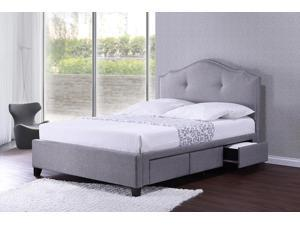 Baxton Studio  Armeena Grey Linen Modern Storage Bed with Upholstered Headboard - Queen Size