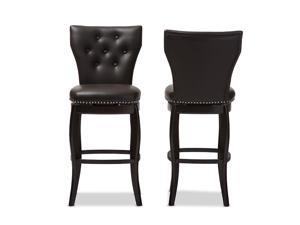 Set of 2 Baxton Studio Leonice Modern and Contemporary Dark Brown Faux Leather Upholstered Button-tufted 29-Inch Swivel Bar Stools