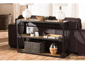 Baxton Studio Hudson Rustic Industrial Style Antique Black Textured Finished Metal Distressed Wood Occasional Console Table