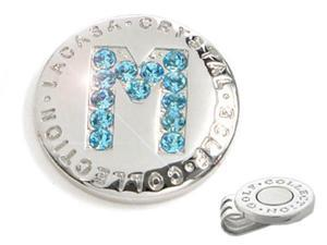 The Elixir Golf 100% Genuine Stellux Austrian Crystal Golf Ball Marker with Hat Clip, Initial 'M'