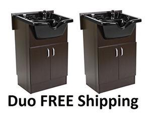 DUO Shampoo Cabinets 2 SANDEN BROWN w Faucet, Bowl, Drain for Beauty Salon and Spa Furniture