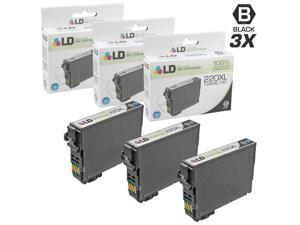 LD © Remanufactured Epson T220XL120 / 220XL Set of 3 High Yield Black Inkjet Cartridges for Epson Expression XP 320, 420, 424 Printers