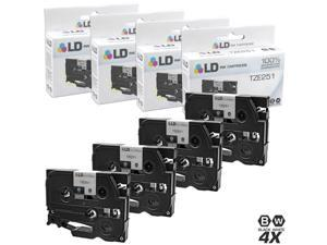 LD © Compatible Brother TZe251 Set of 4 Black on White Tape Cartridges for use in Brother GL/PT/ST P-Touch Printer Series