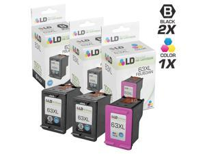 LD © Remanufactured Replacements for HP 63XL Set of 3 Ink Cartridges: 2 F6U64AN HY Black, and 1 F6U63AN HY Color
