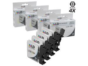 LD © Compatible Brother LC-61 Set of 4 LC61BK Black Inkjet Cartridges