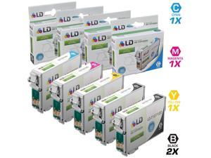 LD© Remanufactured Epson T127 Set of 5 Extra High Capacity Ink Cartridges: Includes 2 Black (T127120), 1 Cyan (T127220), ...