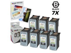 LD © Remanufactured Canon PG30 Set of 7 Black Inkjet Cartridges & Free 20 Pack of LD Brand 4x6 Photo Paper