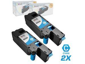 LD © Set of 2 Compatible Toners to Replace Dell 332-0399 (4G9HP) Cyan Toner Cartridges for your Dell C1660w Color Printer