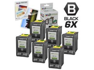 LD © Remanufactured Replacement Ink Cartridges for Hewlett Packard C9351AN (HP 21) Black (6 Pack) + Free 20 Pack of Brand ...