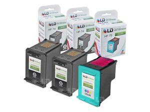 LD © Remanufactured Ink Cartridge Replacements for HP CB335WN (HP 74) Black and HP CB337WN  (HP 75) Color (2 Black and 1 ...