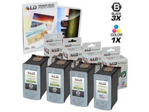 LD © Remanufactured Canon #PG-40 & #CL-41 Combo Set - 3 Black #PG-40 and 1 Color #CL-41 & Free 20 Pack of LD Brand 4x6 Photo ...