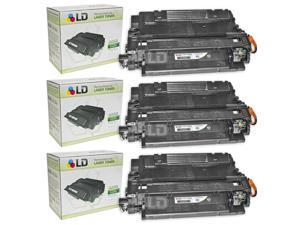 LD © Remanufactured Replacements for HP 55X / CE255X Set of 3 High Yield Black Laser Toner Cartridges