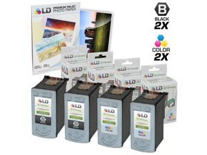 LD © Remanufactured Canon #PG-40 & #CL-41 Combo Set - 2 Black #PG-40 and 2 Color #CL-41 & Free 20 Pack of LD Brand 4x6 Photo ...
