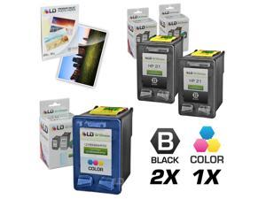 LD © Remanufactured Ink Cartridge Replacements for HP C9351AN (HP 21) Black and HP C9352AN (HP 22) Color (2 Black and 1 Color) ...