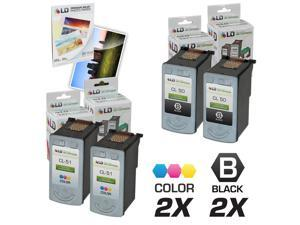 LD © Remanufactured Canon #PG-50 & #CL-51 Combo Set - 2 Black #PG-50 and 2 Color #CL-51 & Free 20 Pack of LD Brand 4x6 Photo ...
