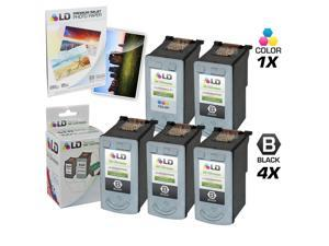LD © Remanufactured Canon #PG-40 & #CL-41 Combo Set - 4 Black #PG-40 and 1 Color #CL-41 & Free 20 Pack of LD Brand 4x6 Photo ...