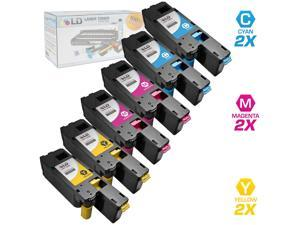 LD © Compatible Replacements for Dell Color Laser C1660w Set of 6 Laser Toner Cartridges Includes: 2 332-0400 Cyan, 2 332-0401 ...