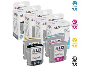 LD Remanufactured Set of Replacement Ink Cartridges for HP 940XL / 940 - 1 Black C4906AN + 1 Each Cyan C4907AN, Magenta C4908AN, ...