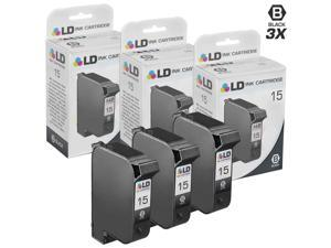 LD © Remanufactured Replacement Ink Cartridge for Hewlett Packard C6615DN (HP 15) Black (3 Pack)