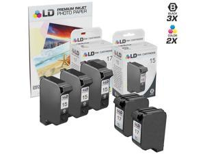 LD © Remanufactured Ink Cartridge Replacements for HP C6615DN (HP 15) Black and HP C6625AN (HP 17) Color (3 Black and 2 Color) ...