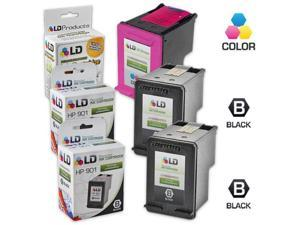LD © Remanufactured Ink Cartridge Replacements for HP CC653AN (HP 901) Black and HP CC656AN (HP 901) Color (2 Black and 1 ...