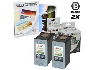 LD © Remanufactured Canon PG50 Set of 2 Black Inkjet Cartridges & Free 20 Pack of LD Brand 4x6 Photo Paper