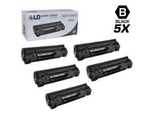 LD © Compatible Replacements for Hewlett Packard CE285A (HP 85A) Set of 5 Black Laser Toner Cartridges for use in HP LaserJet ...
