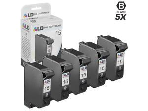 LD © Remanufactured Replacement Ink Cartridges for Hewlett Packard C6615DN (HP 15) Black (5 Pack) + Free 20 Pack of Brand ...