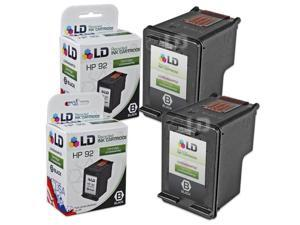 LD © Remanufactured Replacement Ink Cartridges for Hewlett Packard C9362WN (HP 92) Black (2 Pack)