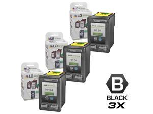 LD © Remanufactured Replacement Ink Cartridges for (HP) CB334AN (HP 54) High Yield Black (3 pack)