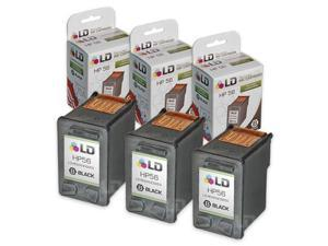 LD © Remanufactured Replacement Ink Cartridges for Hewlett Packard C6656AN (HP 56) Black (3 pack)