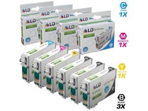 LD © Epson Remanufactured T127 Set of 6 Extra High Capacity Ink Cartridges: Includes 3 Black (T127120), 1 Cyan (T127220), ...