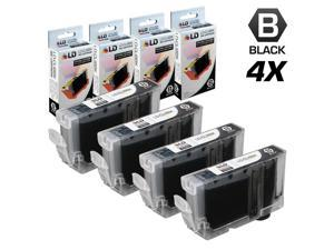 LD © Canon Compatible CLI8BK Set of 4 Black Standard Yield Ink Cartridges Includes: 4 Black 0620B002