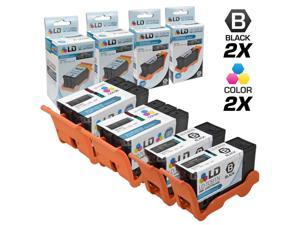 LD © Compatible Set of 4 (Series 22) High Yield Black & Color Ink Cartridges for the Dell P513w, V313, V313w Printers: 2 ...