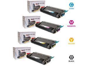 LD © Compatible Lexmark C734 / C736 Set of 4 Toner Cartridges: 1 Black C734A1KG / Cyan C734A1CG / Magenta C734A1MG / Yellow ...