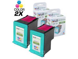 LD © Remanufactured Replacement Ink Cartridge for Hewlett Packard CB337WN (HP 75) Tri-Color (2 Pack)
