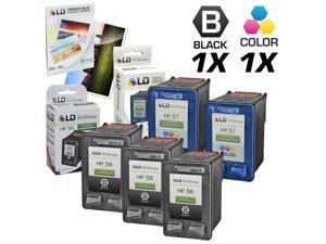 LD © Remanufactured Ink Cartridge Replacements for HP C6656AN (HP 56) Black and HP C6657AN (HP 57) Color (3 Black and 2 Color) ...