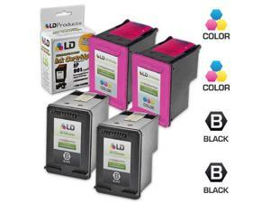 LD © Remanufactured Ink Cartridge Replacements for HP CC653AN (HP 901) Black and HP CC656AN (HP 901) Color (2 Black and 2 ...