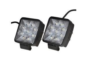 "KAWELL 2 Pack 4.2"" 27W Square Thin Type Off Road Waterproof LED Spot Work Light for Boat/SUV/Truck/Car"