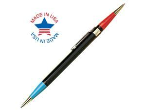 Autopoint Twinpoint Pencil 0.9mm Lead (Red/Blue), Black Barrel