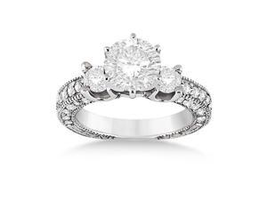Vintage Three-Stone Diamond Engagement Ring 18k White Gold (1.00ct)