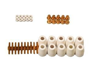 Lotos LCON40 40 Pcs Consumables Nozzle Electrode Cup and Ring for 50A Lotos Plasma Cutters Cut50D, LT5000D, CT520D, BLCT520D