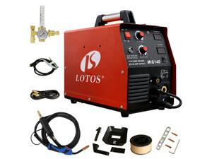LOTOS MIG140 140 Amp MIG Wire Welder Welder and Aluminum Gas Shielded Welding with 2T/4T Switch, 110V, Red