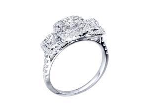 10k White Gold 1ct TDW Double Halo Diamond Engagement Ring (H-I, I2)