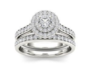 10k White Gold 1ct TDW Diamond Double Halo Engagement Ring (H-I, I2)
